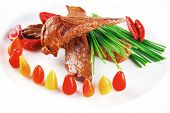 stock photo of chive  - hot fresh grilled red beef meat fillet with vegetables  green chives and peppers on china plate isolated over white background - JPG
