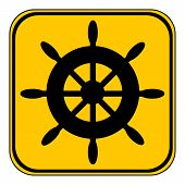 picture of ship steering wheel  - Steering wheel button on white background - JPG