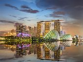 stock photo of marina  - Singapore Skyline and view of skyscrapers on Marina Bay - JPG