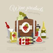 stock photo of keg  - Wine products tagline still life with bottles and keg flat poster vector illustration - JPG