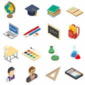 picture of retort  - School education accessories isometric icons set with calculator and retort in chemistry lab abstract isolated vector illustration - JPG