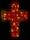 stock photo of stained glass  - Stained glass cross in red with light glow - JPG