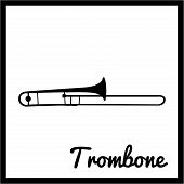 picture of trombone  - Isolated silhouette of a trombone - JPG