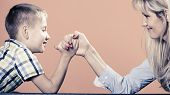 stock photo of wrestling  - Family children and motherhood concept - JPG