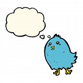 image of bluebird  - cartoon bluebird with thought bubble - JPG