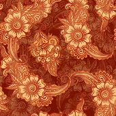 foto of mehndi  - Chocolate colors vector floral seamless pattern in Indian henna mehndi style - JPG
