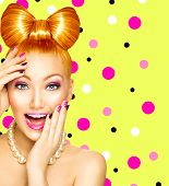 picture of hair bow  - Beauty fashion happy model girl with funny bow hairstyle - JPG