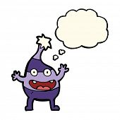 image of creatures  - cartoon funny christmas creature with thought bubble - JPG