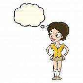 image of short skirt  - cartoon happy woman in short skirt with thought bubble - JPG