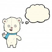 picture of bear cub  - cartoon waving polar bear cub with scarf with thought bubble - JPG