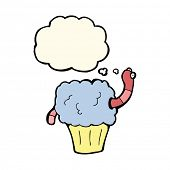 image of worm  - cartoon worm in cupcake with thought bubble - JPG