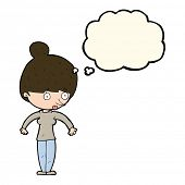 picture of stare  - cartoon woman staring with thought bubble - JPG