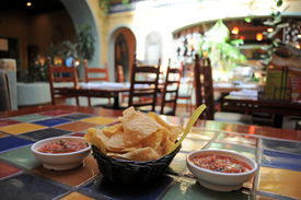 image of mexican food  - Tortilla chips and salsa in a restaurant - JPG