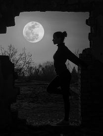 picture of moonlight  - Beautiful girl working out under the moonlight - JPG