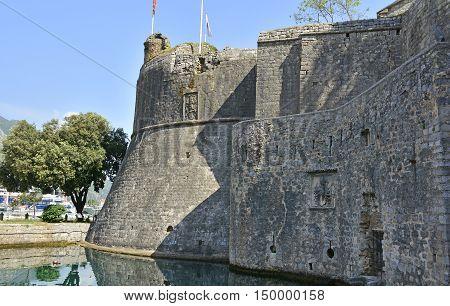 Part of the defensive city walls in Kotor in Montenegro