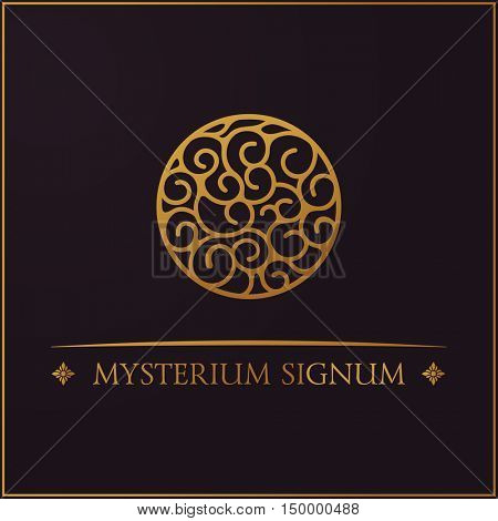 Gold round logo. Mysterious sign for your design. Vector floral symbol for cafe, restaurant, shop. Design template label for coffee, tea, mug, business card