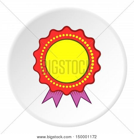 Certified quality label icon in cartoon style on white circle background. Design symbol vector illustration