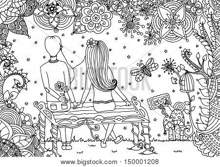 Vector illustration zentangl, loving couple sitting on a bench in a flower garden. Doodle drawing. Meditative exercises. Coloring book anti stress for adults. Black and white.