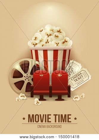 Cinema concept poster with popcorn bowl, cinema chair, film strip and tickets, detailed vector illustration