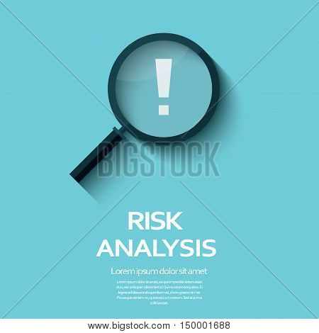Business Risk Analysis symbol with magnifying glass icon and exclamation mark. Long shadow flat design. Eps10 vector illustration.