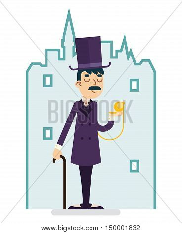 Clock Time Great Britain Victorian Gentleman Businessman Character Flat Vector Illustration