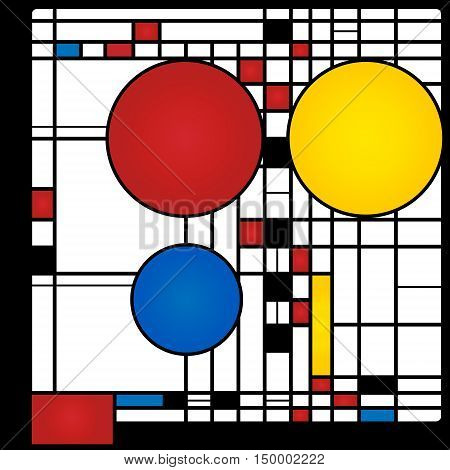 Abstract background in style of a cubism, red, blue, yellow squares and rounds