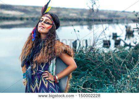 Native American Girl In National Clothes Smiling