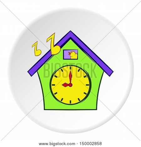 Cuckoo clock icon in cartoon style on white circle background. Time symbol vector illustration