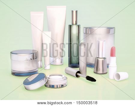 Set of cosmetics for women on a green background. 3D illustration