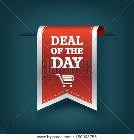Deal of the day vertical ribbon bookmark tag element for sales promotion. Eps10 vector illustration.