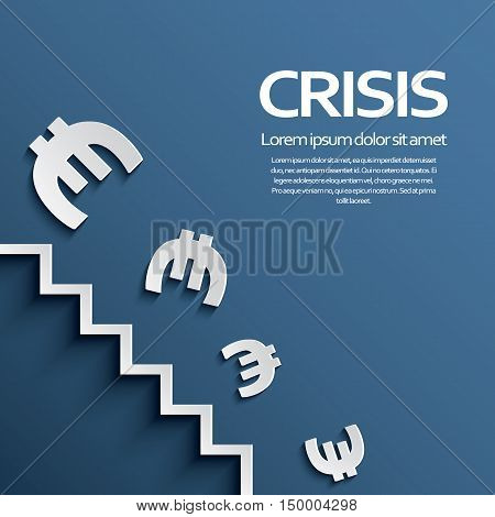 Euro sign falling down the stairs as a symbol of european recession crisis. Eps10 vector illustration.