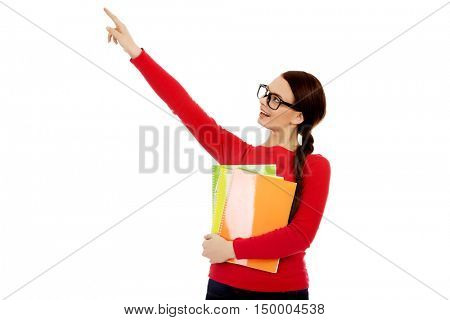 Student woman showing copyspace or something