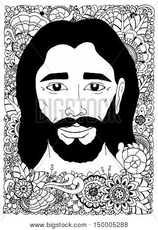 Vector illustration zentangl, Portrait of Jesus in the flowers. Doodle drawing. Meditative exercise. Coloring book anti stress for adults. Black and white.