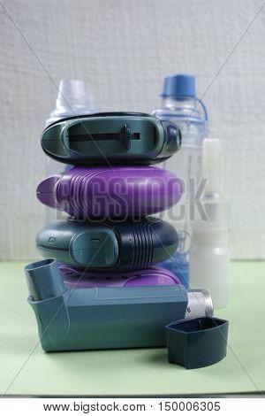 Asthma allergie illness relief concept salbutamol inhalers aerosol medication