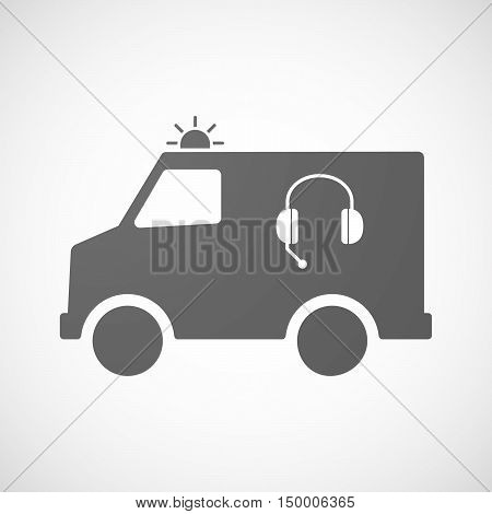 Isolated Ambulance Icon With  A Hands Free Phone Device