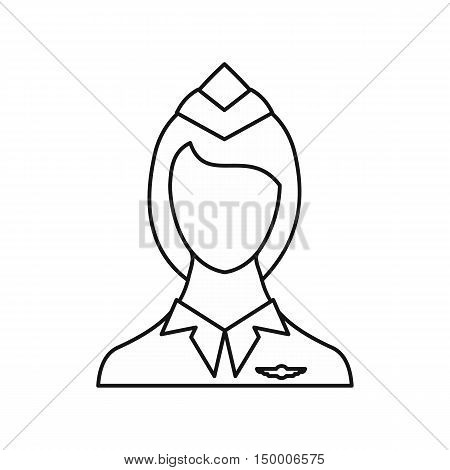 Stewardess icon in outline style isolated on white background. Work symbol vector illustration