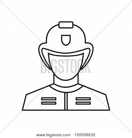 Fireman icon in outline style isolated on white background. People symbol vector illustration