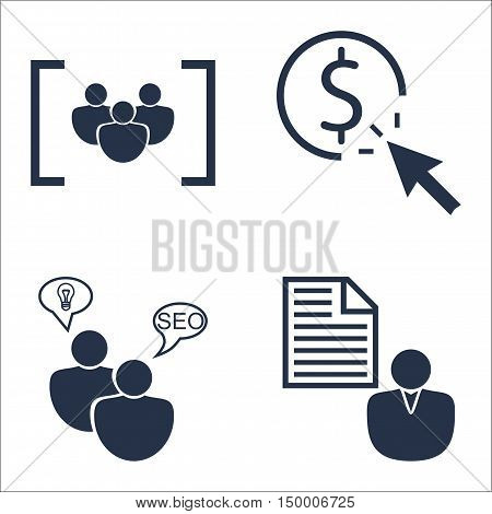 Set Of Seo, Marketing And Advertising Icons On Client Brief, Focus Group, Pay Per Click And More. Pr