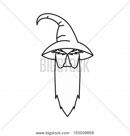 Wizard icon in outline style isolated on white background. Tricks symbol vector illustration