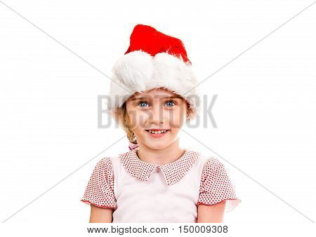 Small Girl in Santa Hat on the White Background