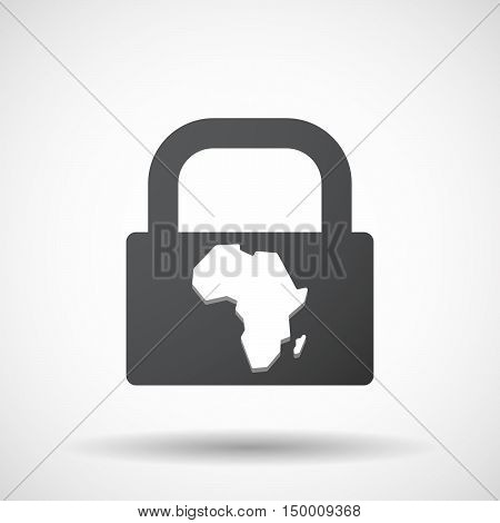Isolated Lock Pad Icon With  A Map Of The African Continent