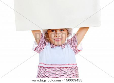 Small Girl with Blank Board on the White Background