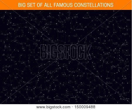Big set of all famous constellations, modern astronomical signs of the zodiac. Sky Map with the name of the stars and constellations.