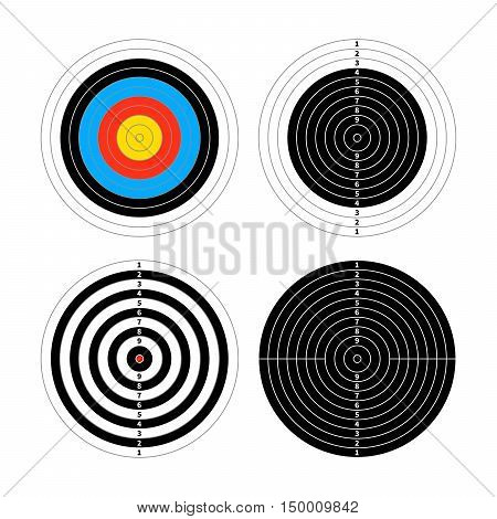 Set of four different targets for shooting practice isolated on white