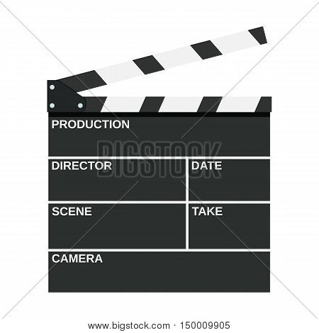Black opened clapperboard. Movie clapper board. vector illustration in flat style