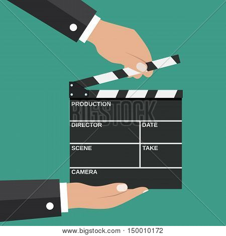 Black opened clapperboard in hands. Movie clapper board. vector illustration in flat style on green background