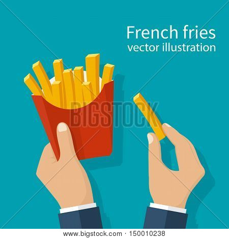 French fries in hands of men. French fries in paper box. Isolated on background.