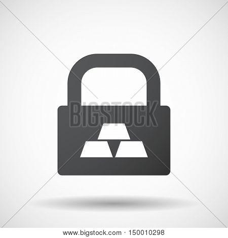 Isolated Lock Pad Icon With Three Gold Bullions