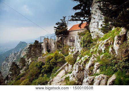 Ruins of Saint Hilarion Castle in Cyprus