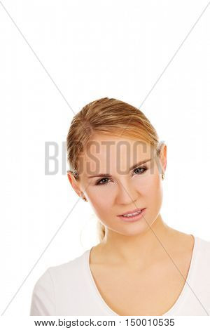 Portrait of young angry woman